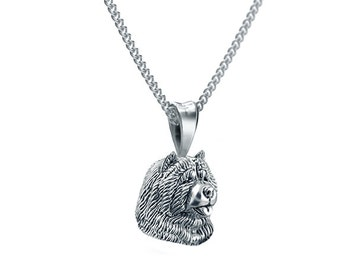 Handmade Chow Chow Breed Face Necklace in Sterling Silver.