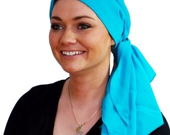 Carlee Pre-Tied Head Scarf, Women's Cancer Headwear, Chemo Scarf, Alopecia Hat, Head Wrap, Head Cover for Hair Loss - Turquoise Blue