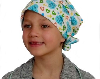Jaye Children's Flannel Head Cover, Girl's Cancer Headwear, Chemo Scarf, Alopecia Hat, Head Wrap, Cancer Gift for Hair Loss - Jesus Loves Me