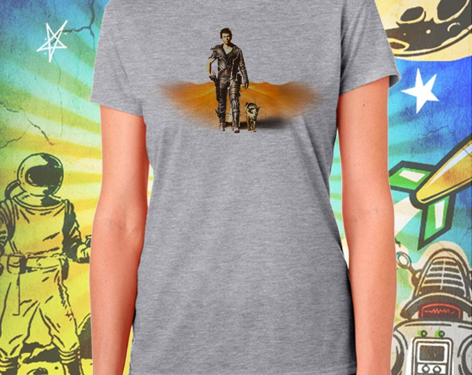 Mel Gibson's Mad Max and Dog Women's Summer Gray T-Shirt