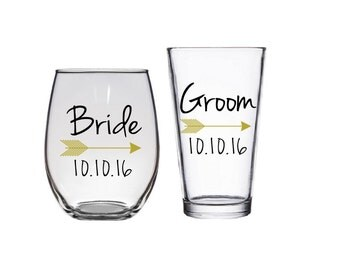 Future Mrs, One Lucky Mr, Engagement Gift, Bride and Groom Glasses, Bride to be, Groom Beer Mug, Bride Wine Glass