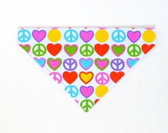 Peace and Hearts Dog Bandana, Dog Scarf