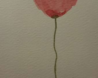 Abstract poppy flower original watercolor painting wall art