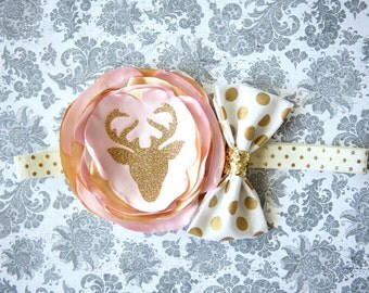 Beautiful Deer Headband, Pink Gold Ivory Satin Couture Floral Deer Headband for First Birthday Baby Girl 6-18 Months Gold Polka Dot Headband