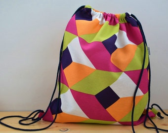String backpack,geometric backpack,colors print fabric,geometric fabric,fabric backpack,draw string backpack,draw string bag,pink backpack