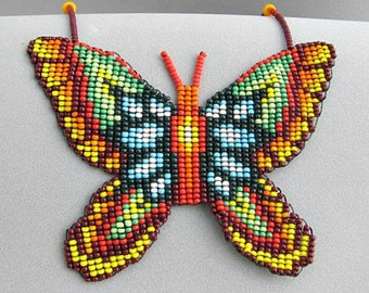 Seed Beaded Butterfly Necklace, Spirit Animal Necklace, Butterfly Necklace.