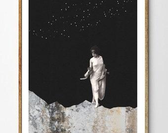 Lilith - Surreal Art, Space Art Print, Mixed Media Collage, Vintage Women, Celestial Art, Starry Sky, Mountain Art, Home Decor