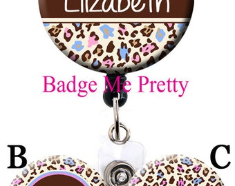 Retractable ID Badge Reel-Leopard Cheetah Badge- Baby Feet Pink and Blue - Labor and Delivery Nurse- OB Badge Reel Badge Holder