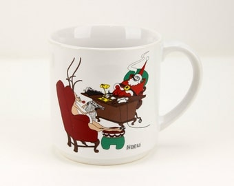 Santa Mug with Rudolf Reindeer May Your Overhead Be Low And Your Quarterlies Bright