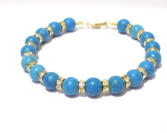 blue and gold bracelet, blue turquoise bracelet, turquoise bracelet, gemstone bracelet, beaded bracelet