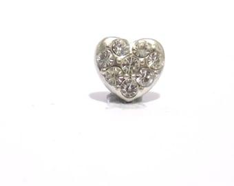 heart charm, charm, rhinestone heart charm, living memory charm, metal charm