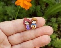 Megara and Hercules, stud earrings, inspired. Disney jewelry. Clay jewels. Miniature. Miniature doll.