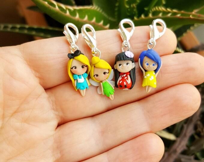 Alice,Joy,Lilo,Tinkerbell Disney charm inspired , only charm. Stitch maekers disney. Clay charm. Disney jewelry. Kawaii. Handmade with love.
