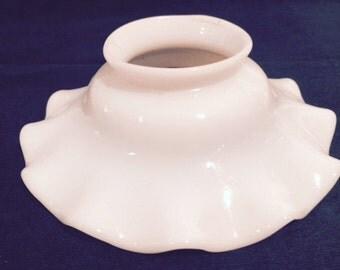 Milk Glass Smoke Bell - Wide Ruffle
