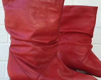 80's RED Leather SLOUCH Boots size 6 1/2 M