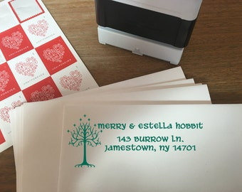 "Large Custom Lord of the Rings Hobbit Self-Inking Address Stamp - 3"" x 1.5"" - 5 Colors - Great for Weddings, Birthdays, Etc! Christmas Gift!"
