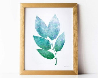 Modern nature art print, Bathroom wall art, Blue and Green art print, PRINTABLE wall art print, Leaves art print Bedroom decor, Epherica Art
