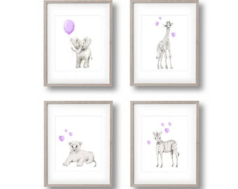 Safari Nursery Art, Set of 4 Prints, Elephant, Giraffe, Lion, Zebra, Lavender Nursery, Baby Animal Art, Childrens Wall Decor, Jungle Prints