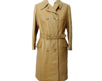 60s 70s beige Leather TRENCH // size small