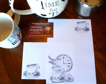 Time for Tea Stationery Set - Afternoon Tea Writing Paper with matching premium envelopes - Tea Time Letter Writing Set - Elegant Present