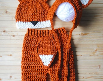 Baby Fox Costume, Baby Shower Gift, Baby Fox Halloween Costume, Knit Fox Hat, Crochet Fox Hat, Baby Fox Outfit, Fox Baby Pants, Fox Hat