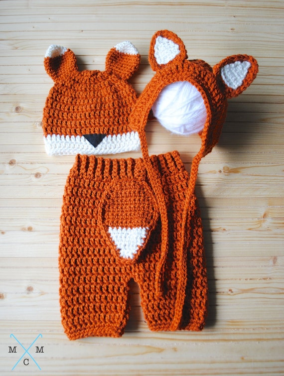 Easy Crochet Pattern For A Baby Hat : Baby Fox Costume Baby Shower Gift Baby Fox by MiniMaeCrochet