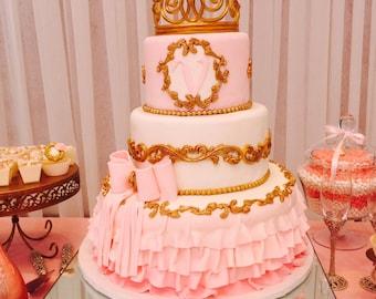 Tiara cake topper, Crown cake topper, gold crown cake topper, princess party cake topper,Prince party, Baby shower...