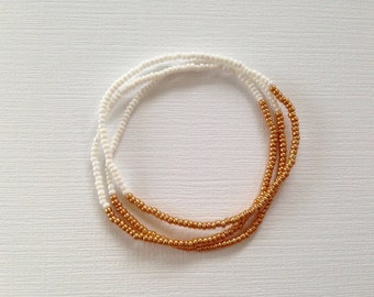 Seed Bead Bracelet, Gold Bracelet, Simple Bracelet, Stretch Bracelet, Stacking Bracelet Set, White Bracelet, Stackable Bracelet