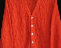 Vintage 60s Red MOHAIR CARDIGAN Golf SWEATER Vegas Rat Pack Lounge Lizard Style Chest 43""