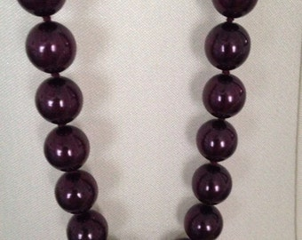 Joan Rivers Vintage QVC Glass Beaded Necklace - Deep Purple