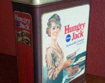 Vintage 1984 Pillsbury Hungry Jack Pancake Mix Rectangular Tin, HUNGRY JACK Pancake Tin Container by Pillsbury Americana Advertising