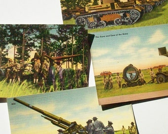 Vintage Postcards / 4 Military Subject /  Tanks / Eyes and Ears of the Army / Anti Aircraft Guns / Field Artillary