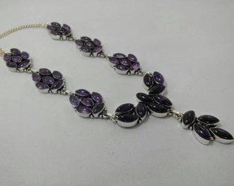Beautiful 925 Sterling Silver Amethyst Statement Necklace