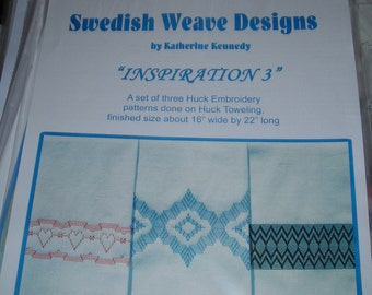 "Swedish Weave Designs Huck Embroidery Chart ""Inspiration 3"" - 3 Huck Towel Designs"