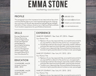 resume template cv template for word mac or pc professional resume design free cover letter creative modern teacher the emma black