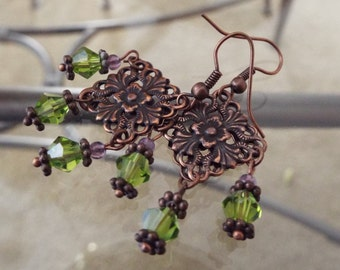 Earrings with Swarovski Crystals and Amethyst Beading