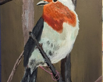 """Original 8"""" x 10"""" Acrylic Bird Painting on stretched canvas."""