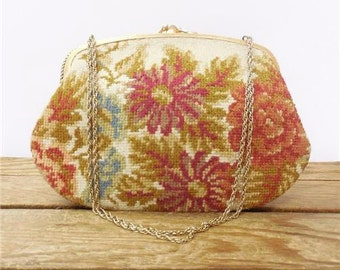 M M Garland Beautiful Floral Tapestry Teeny Needlepoint Evening Hand Bag Bridal Purse