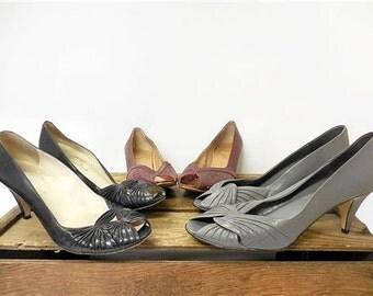 Vintage Lot Assortment Italian Leather High Heel Peep Toe Pump Shoes Women 8.5 9