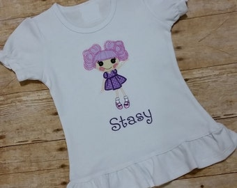 Personalized Curly Hair Lalaloopsy Appliqued Shirt - Embroidered, Monogram, Shirt, Girl, Birthday, Purple, Pink, Orange