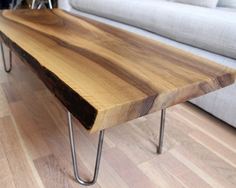 Sold - Live edge solid walnut coffee table on hairpin legs