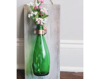 Glass Bottle Hanging Vase - Shabby Chic/Vintage/Rustic/Industrial