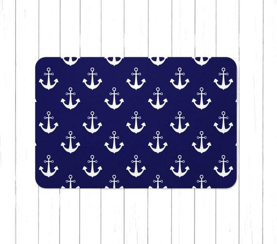 Anchor Bathroom Rug: Navy Blue Nautical Anchors Area Rug Or Bath Mat Minimalist