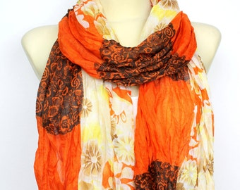 Floral Fashion Scarf - Orange Fabric Scarf -  Unique Boho Scarf - Floral printed Scarf - Women Fashion Accessories - Gift Idea for her