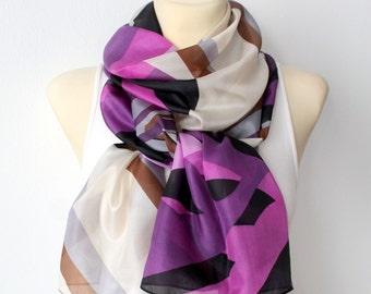 Purple Silk Scarf - Women Fashion Scarf - Unique Fabric Scarf - Original Boho Modern Shawl - Women Accessories - Gift Ideas for her