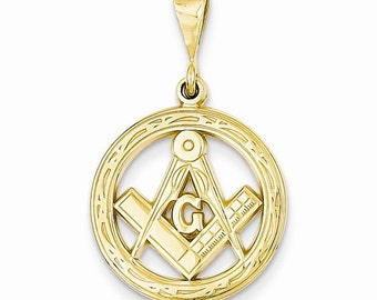 14K Yellow Gold Masonic Pendant Charm LKQC1783