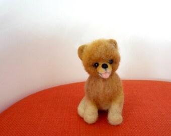Needle Felted Sculptures - Cutest puppy Boo - Miniature Wool Felt Pomeranian Dog