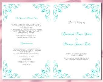 Wedding Program Booklet Template Black and White Diy