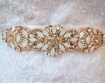 Rose Gold Bridal Belt on Ribbon Sash - Rose Gold Bridal Sash - opal bridal belt-  Rose Gold Belt -EYMbellish - champagne bridal belt B054