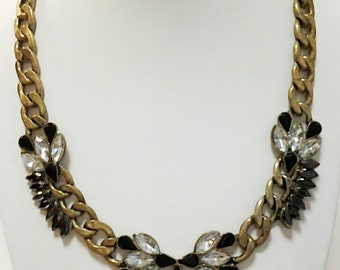 Bronze Chain with Black and Crystal Beads Necklace / Black and Crystal Beads Necklace.